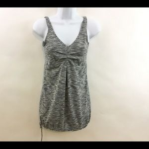 Lucy Tank Top XS Gray Sleeveless Ruched Tech